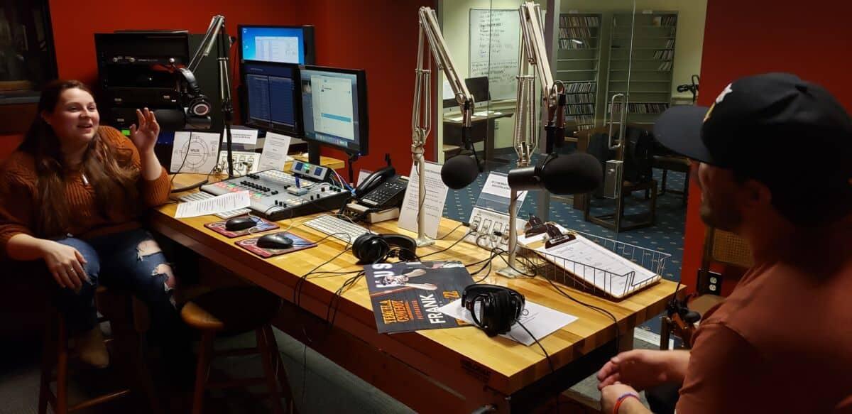 Cassandra Muhr hosts her radio show from the WNJR station in the Howard J. Burnett Center.
