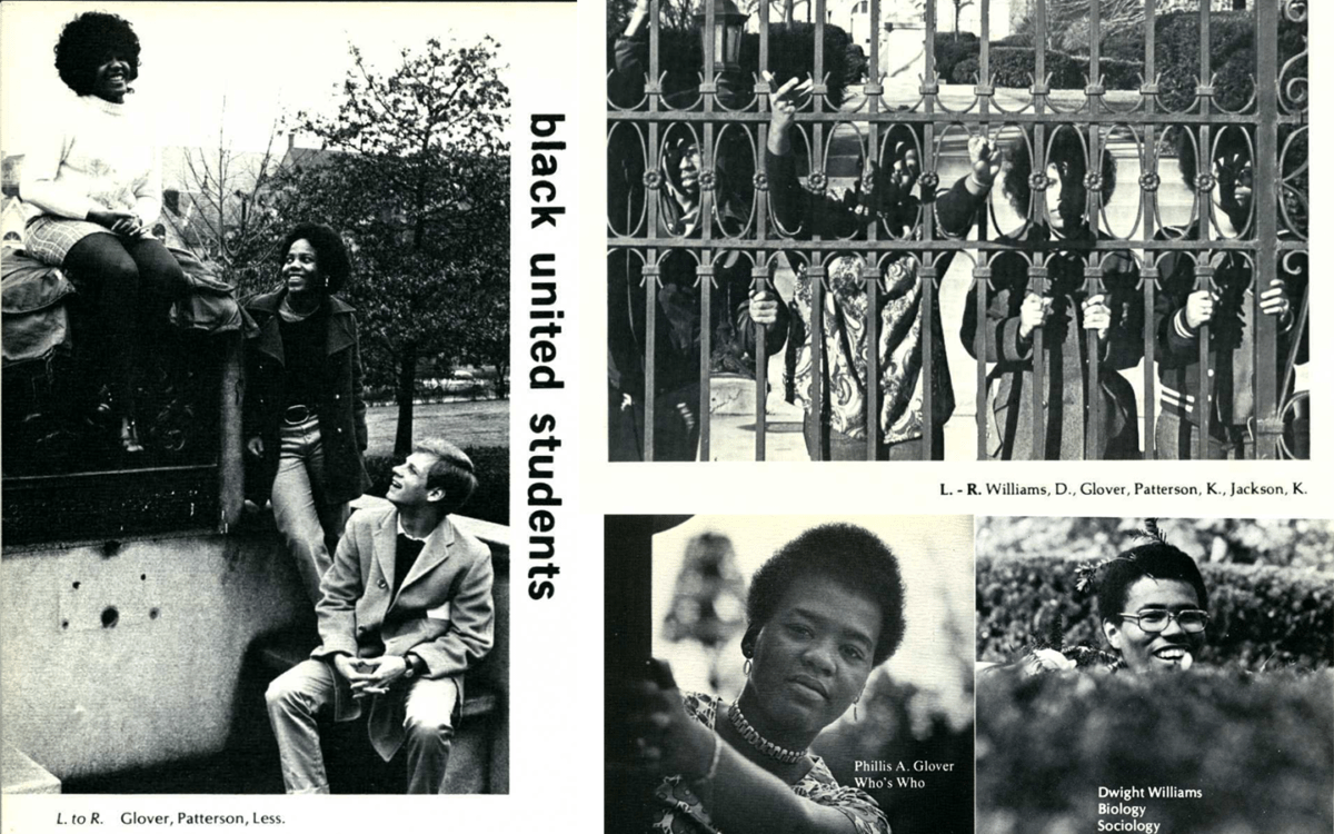 A collage of images featuring Black Student Union members in yearbook photos from the 1970s.