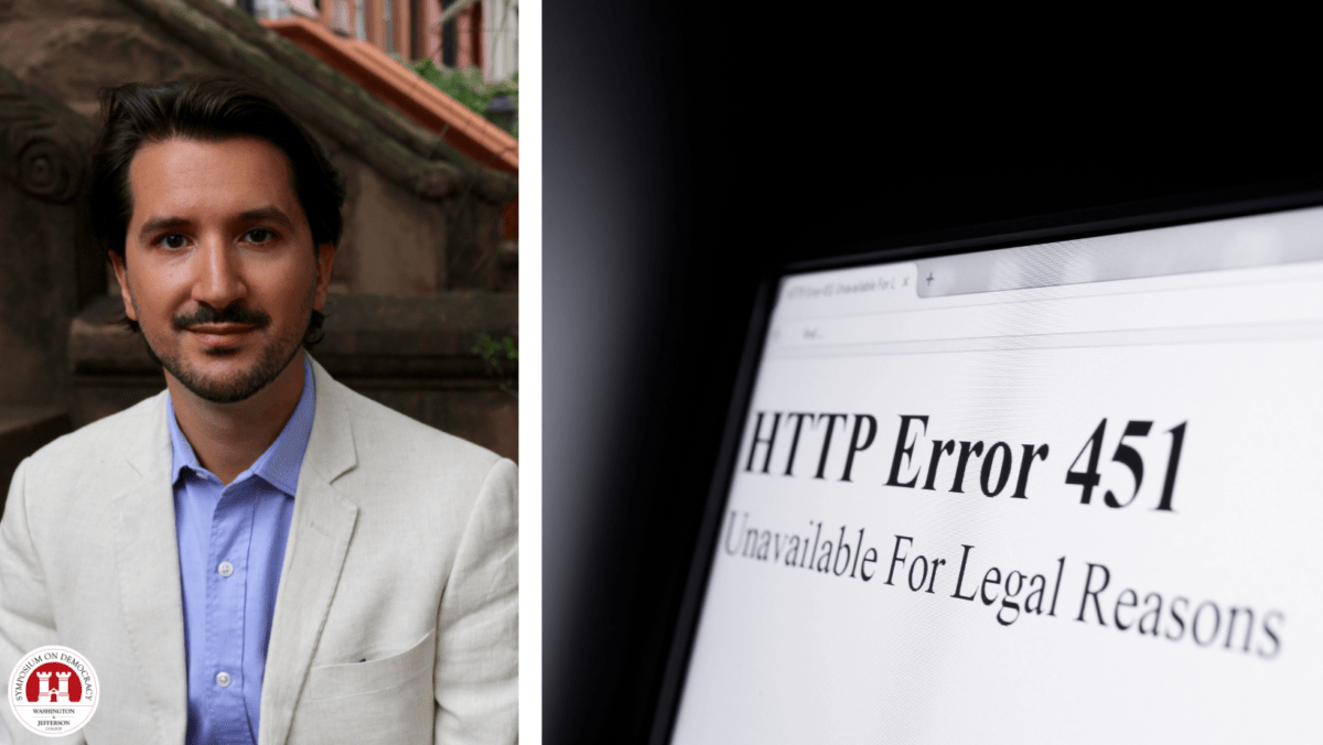 """Freedom Director of Technology Adrian Shahbaz is pictured at left juxtaposed next to an image of a computer screen that readds """"HTTP Error 451, Unavailable for Legal Reasons."""""""