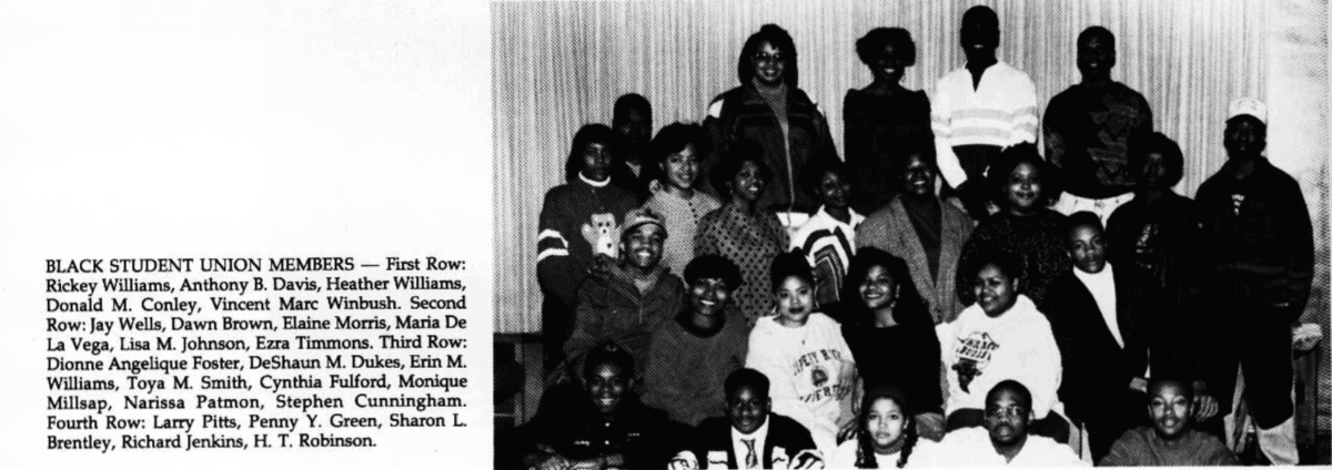 A 1992 yearbook photo shows members of the re-instituted Black Student Union.