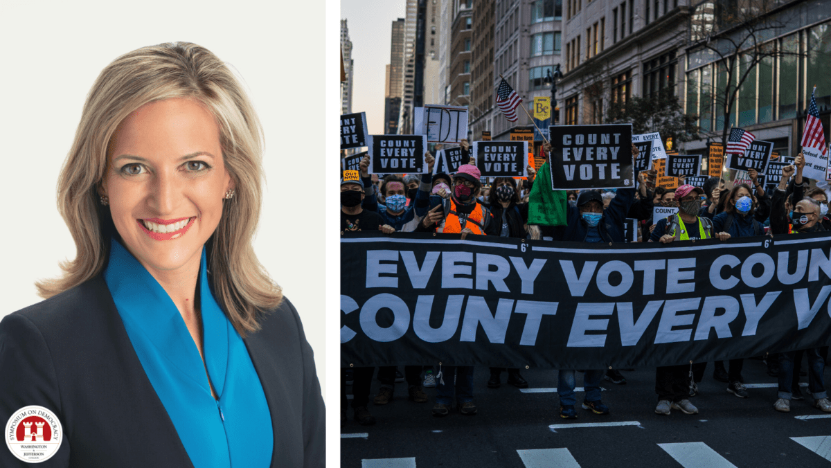 Michigan Secretary of State Jocelyn Benson is shown at left juxtaposed next to an image of protestestors marching while wearing masks and holding a banner that reads