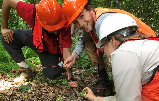 W&J students doing forest research