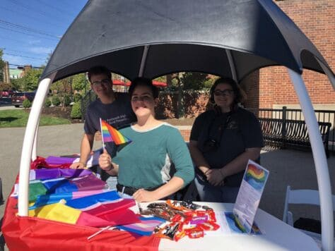 Members of the W&J Gender and Sexuality Alliance pose with giveaways during a Feel Good Friday at the College.