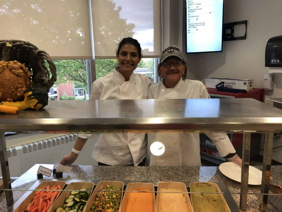Chef Amira and a line cook in the W&J College cafeteria.