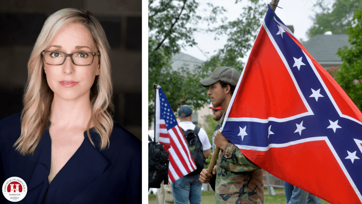 Author and Historian Kathleen Belew is pictured at left juxtaposed next to an image showing a man wearing camoflauge carrying a confederate flag in the foreground with another man carrying a modern American flag in the background.