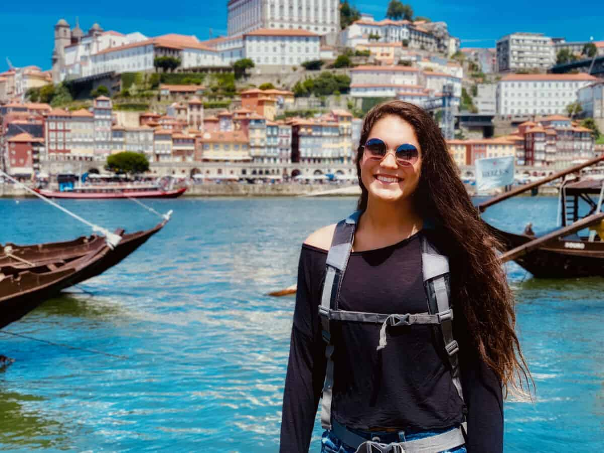 Marcy Salvidar poses in Portugal where she went to study attitudes around disability for her Magellan Project.