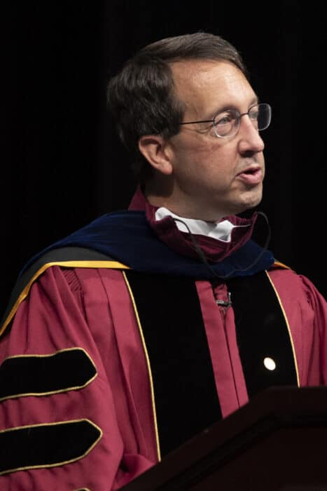 Timothy Klitz, Ph.D., Professor of Psychology, addresses the Class of 2024 during the 2020 Matriculation Ceremony September 6, 2020, which was pre-recorded in Olin Theatre on the campus of Washington & Jefferson College.
