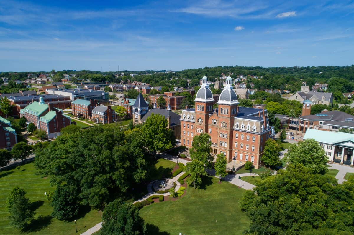 Old Main and the campus from the air