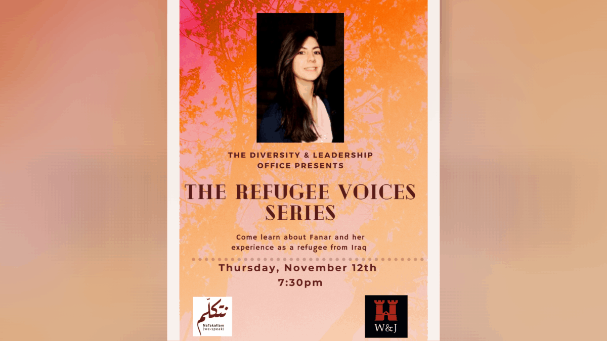 Poster for Refugee Voices event on Nov. 15 on Zoom at 7:30 p.m.