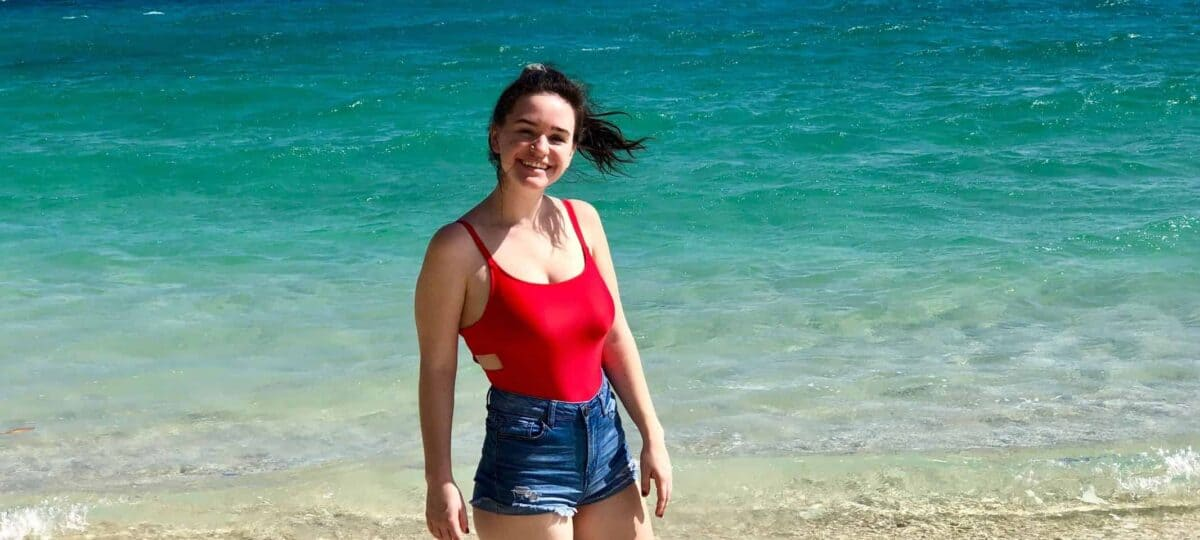 Sarah Edwards on a beach in Australia where she completed her Magellan Project.