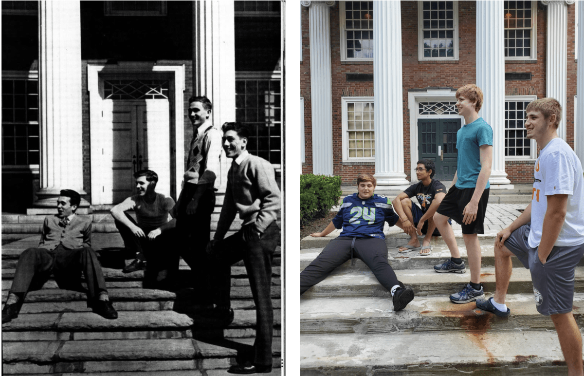 Students recreate a photo of four male W&J students in front of Lazear Hall.