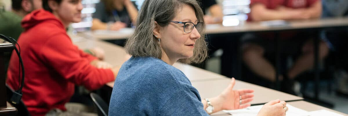 """Cynthia A. Hogan, Ph.D., Visiting Assistant Professor of Religious Studies, leads a breakout session titled """"Religion and We are the People(s)"""" in the morning of the Symposium on Democracy February 17, 2020 in the Howard J. Burnett Center at Washington & Jefferson College."""