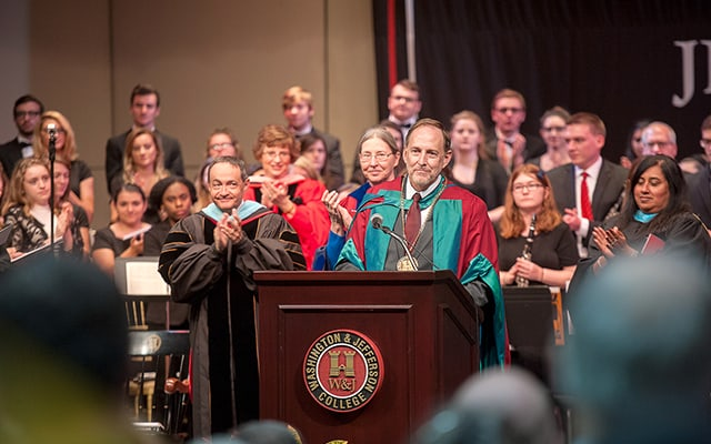 President Knapp delivering his inaugural address