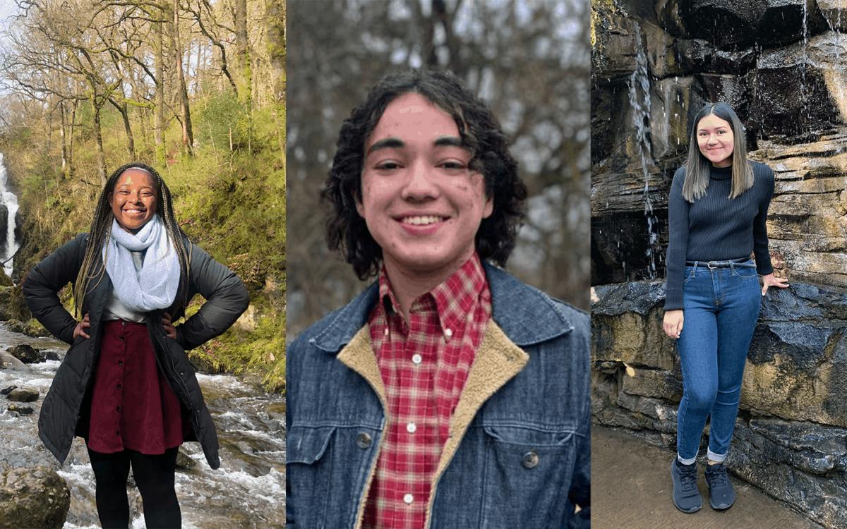 Headshot photos of Kelsey Julien, Kenneth Jimenez, and Mariana Reyes