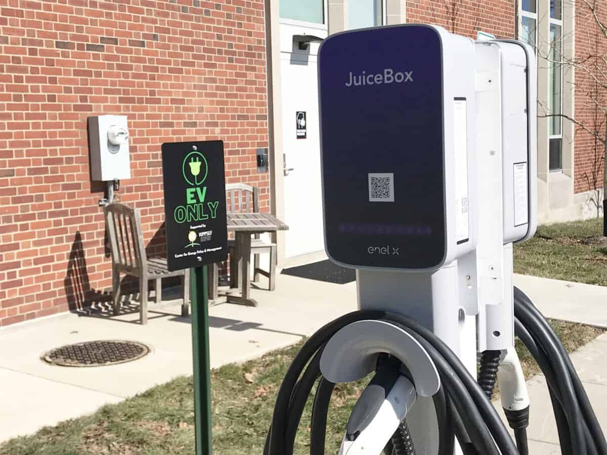 Car charging station being Clark Family Library