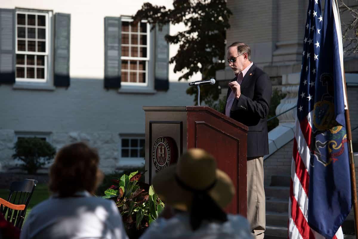 Dr. Knapp speaking at podium