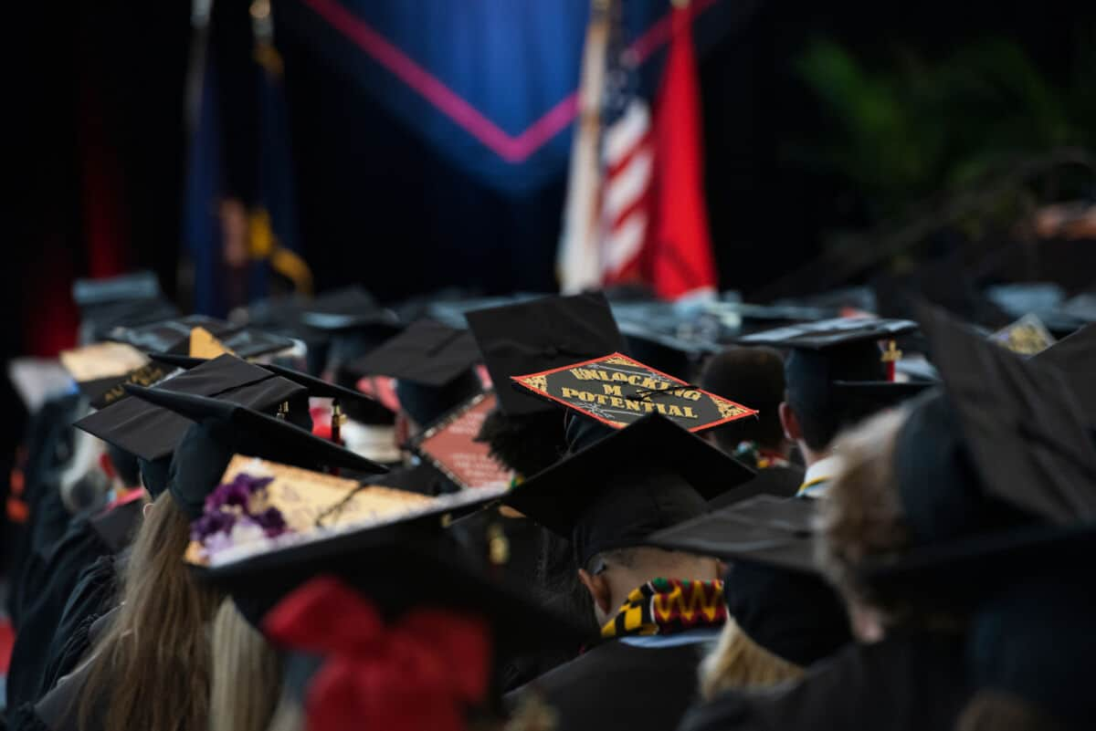 Students display decorated mortarboards during the Commencement ceremony in the James David Ross Family Recreation Center May 18, 2019 on the campus of Washington & Jefferson College.