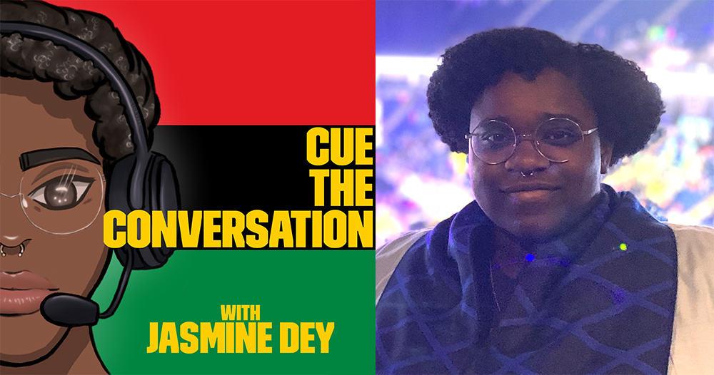 Jasmine Dey's headshot and the Cue the Conversation podcast logo