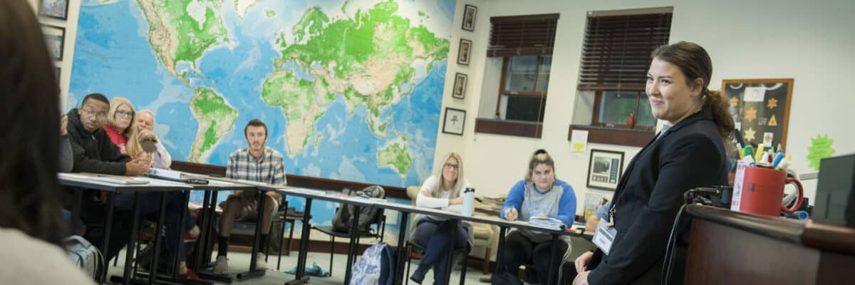 Students in education class in the Howard J. Burnett Center as seen October 21, 2019 during the Creosote Affects photo shoot at Washington & Jefferson College.
