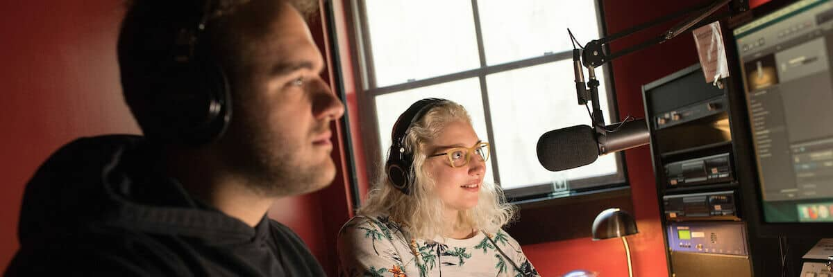 Julia Angotti in the WNJR Radio Station in the Howard J. Burnett Center as seen October 21, 2019 during the Creosote Affects photo shoot at Washington & Jefferson College.