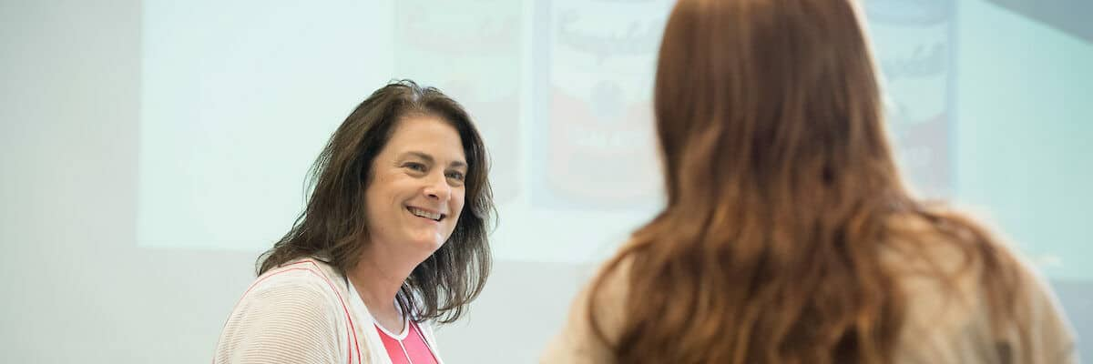 Associate Professor of Communication Arts Melissa A. Cook, Ph.D., works with students in class as seen October 21, 2019 during the Creosote Affects photo shoot at Washington & Jefferson College.
