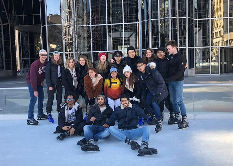 W&J international students at PPG ice rink in Pittsburgh