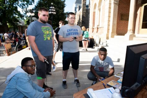 Students play video games during Washington & Jefferson College's Involvement Expo.