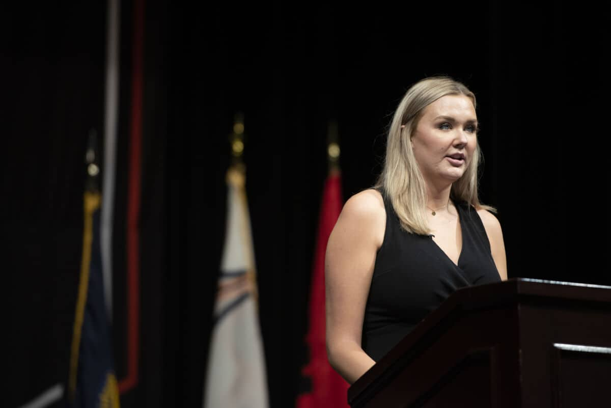 Halie Hess '21, W&J's SGA president, speaks about the Peer-To-Peer Affirmation of Values during the 2020 Matriculation Ceremony September 6, 2020, which was pre-recorded in Olin Theatre on the campus of Washington & Jefferson College.