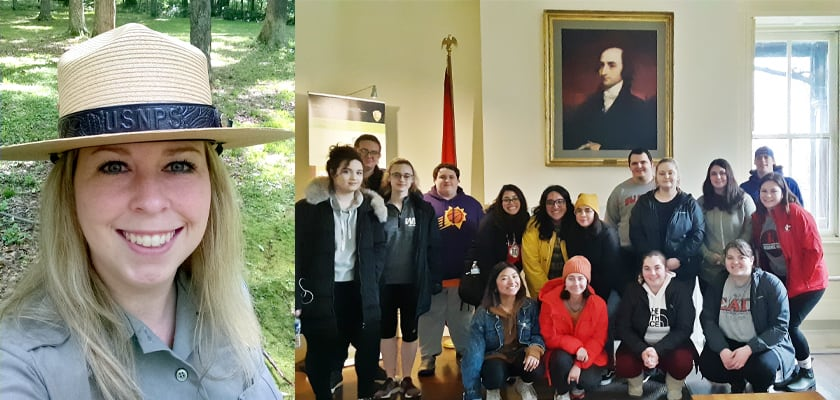 Hilary Miller, left, and her history class