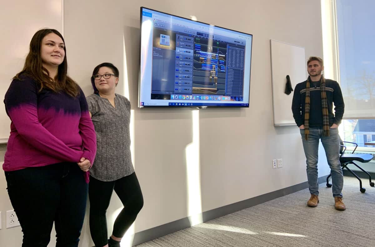 Students present their compositions from the Transforming Environmental Data into Music class during the 2019 PrezTech Challenge.