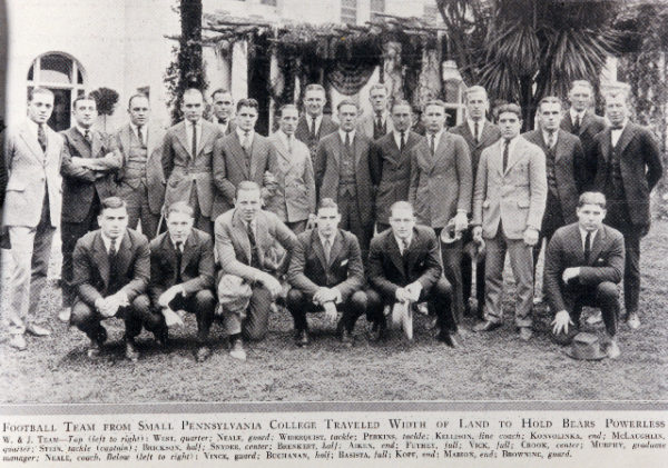1922 W&J Rose Bowl Team in newspaper clipping