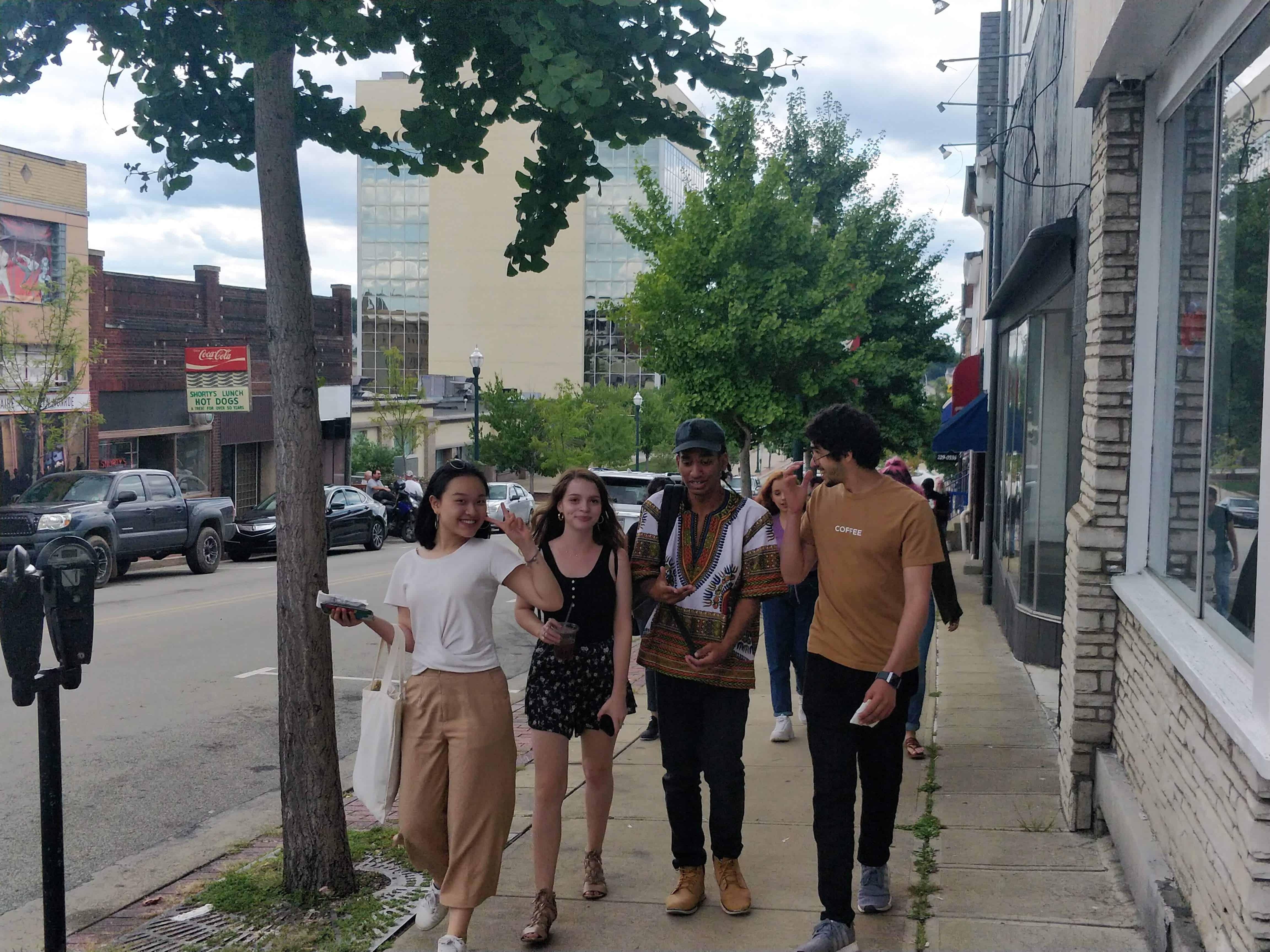 International Students walking through Washington, Pennsylvania.