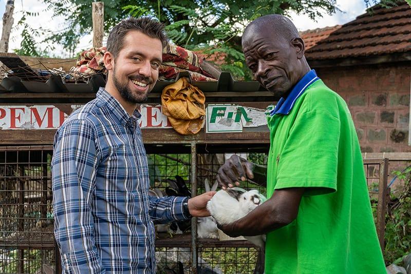 Jake Meyers, left, with environmentalist Francis Wachira