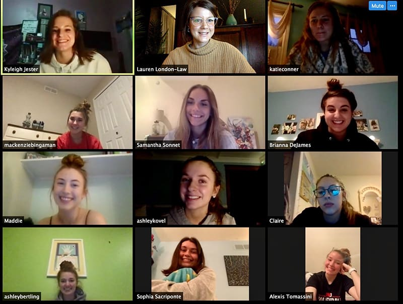 Screenshot of a Zoom meeting of the W&J womens volleyball team